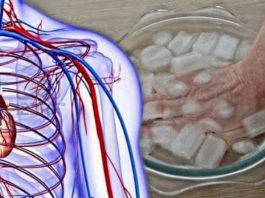 Опустите пальцы рук в ледяную воду на 30 сек, чтобы проверить работу сердца и кровеносной системы